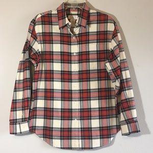 Preppy Plaid Button Down Shirt Blouse Cotton Top